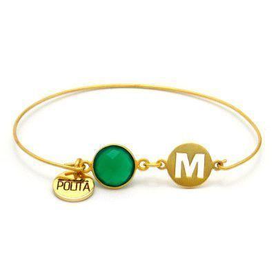 pulsera-iniciales-personalizable-onix-verde-plata-de-ley-oro-neska-polita