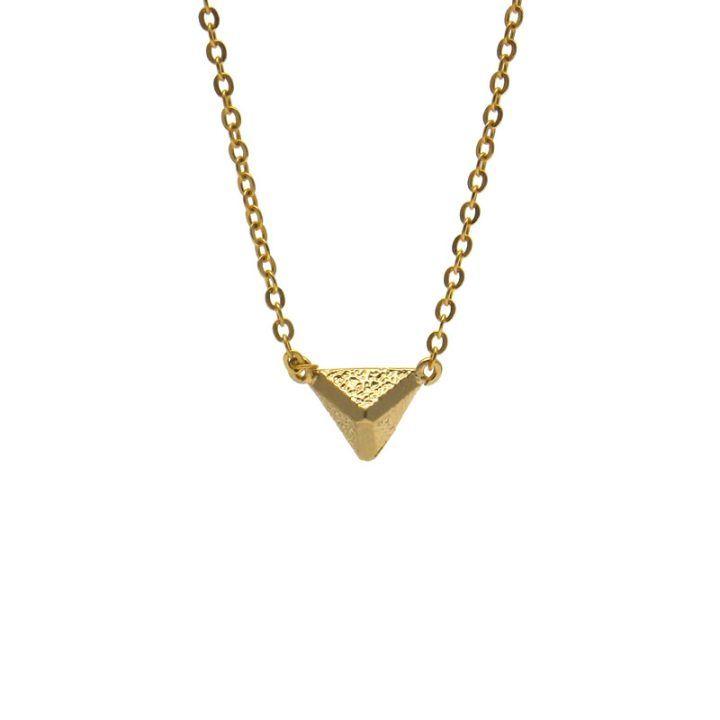 collar baño oro piramide
