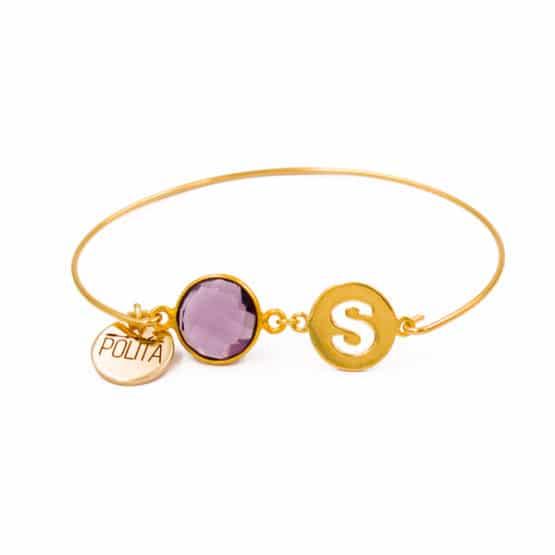 pulsera-inicial-personalizada-oro-amatista-neska-polita