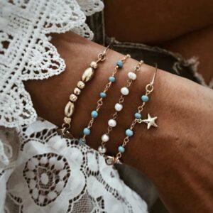 pulseras plata turquesa estrella de mar