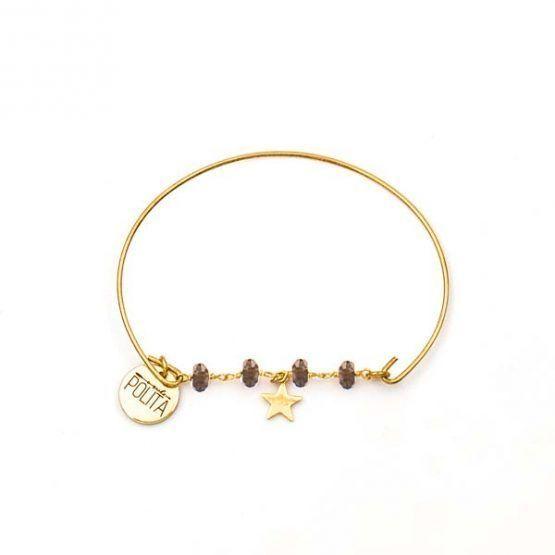 Pulsera-boho-minimal-star-minerals-estrella-oro-marron-cuarzo-ahumado-neska-polita