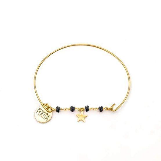 Pulsera-boho-minimal-star-minerals-estrella-oro-negro-pirita-neska-polita