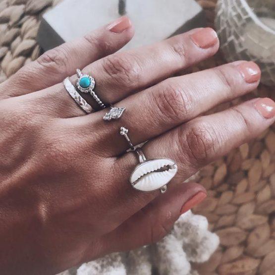 anillos boho plata