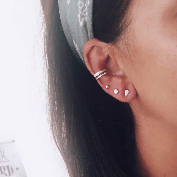 pendientes earcuff plata