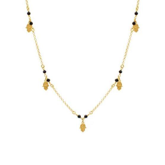 collar hamsa black oro