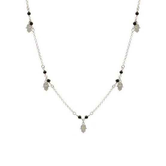 collar hamsa black plata