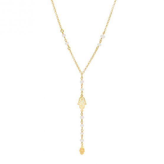 collar hamsa white oro