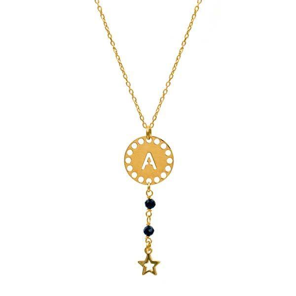 collar initials negro oro
