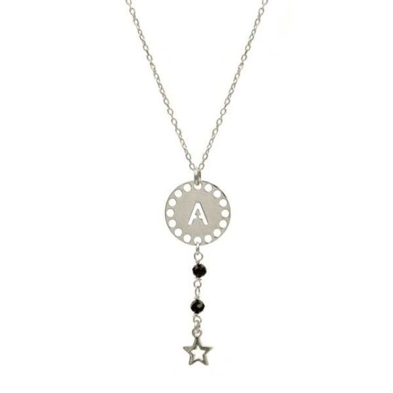 collar initials negro plata