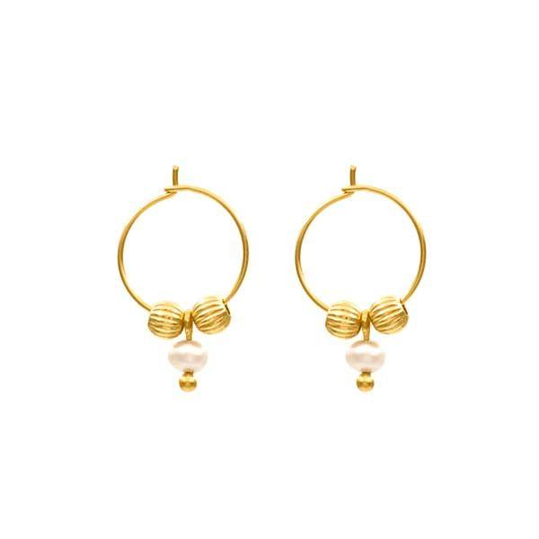 pendientes kono perla oro