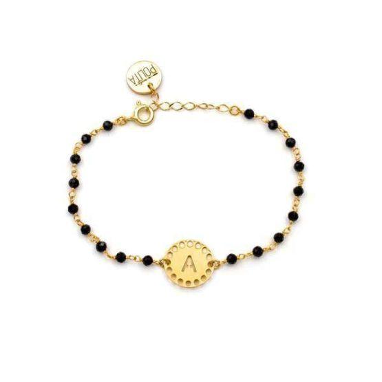 pulsera initials negro oro