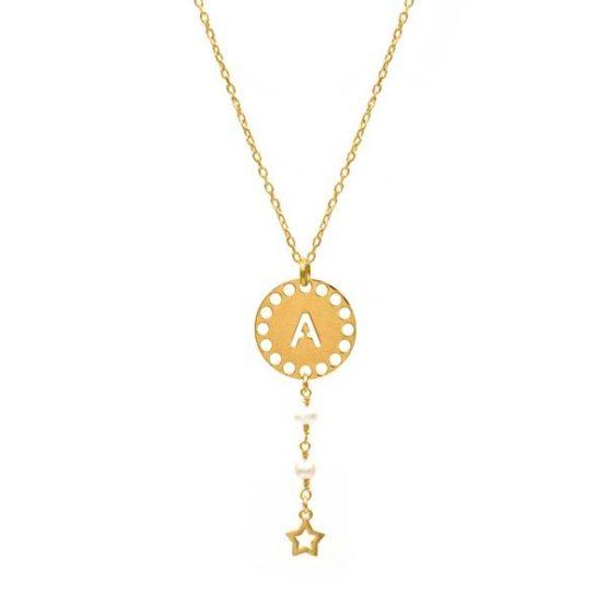 collar initials perla oro