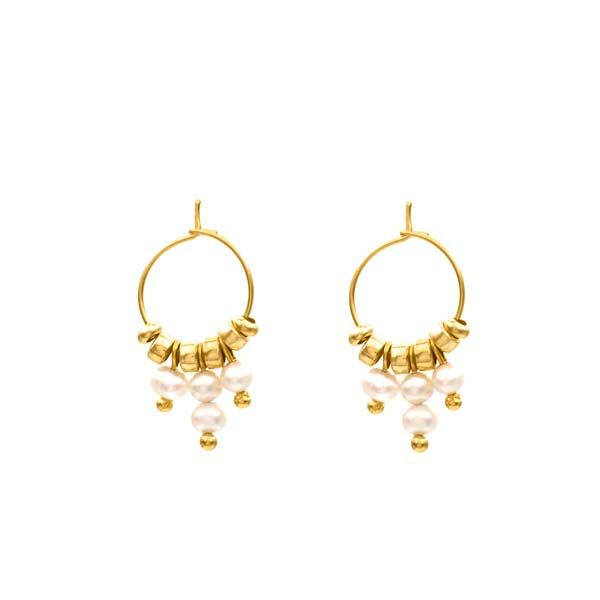 pendientes gala perla oro