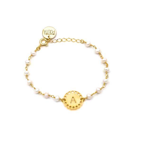 pulsera initials perla oro