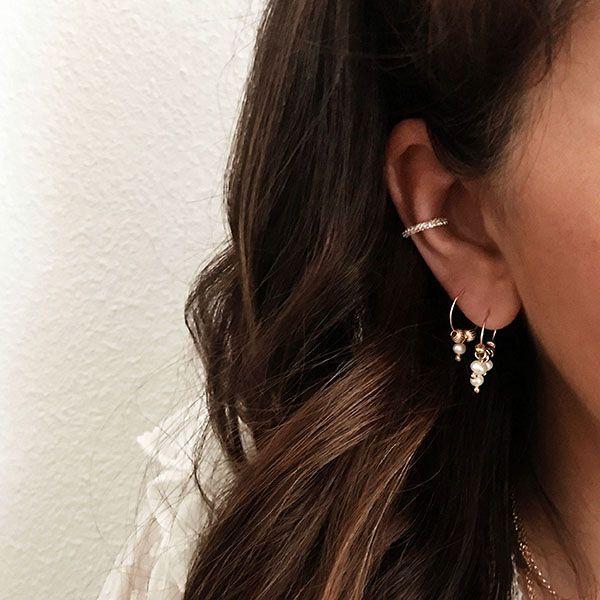 pendientes aro perlas y ear cuff cartilago bano oro