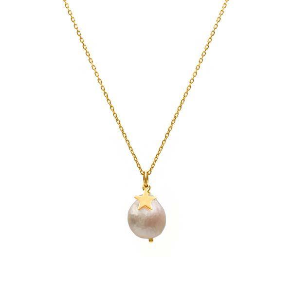 collar pearls & star oro
