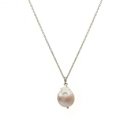 collar pearl & star plata
