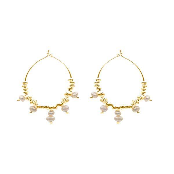 pendientes alba perla oro
