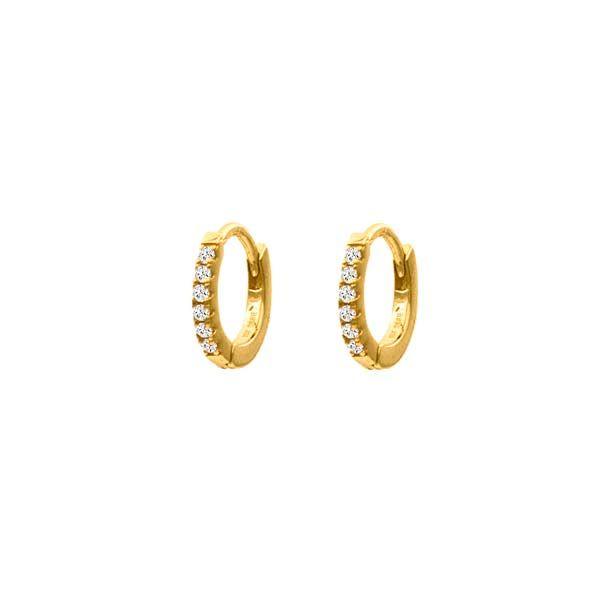 pendientes zircon hoop oro