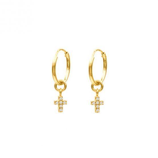 pendientes zircon cross oro