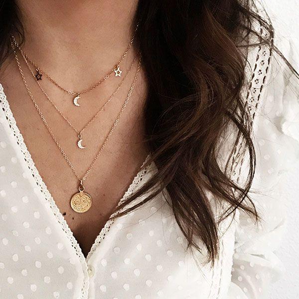 collares luna, estrellas y medallon plata chapada oro