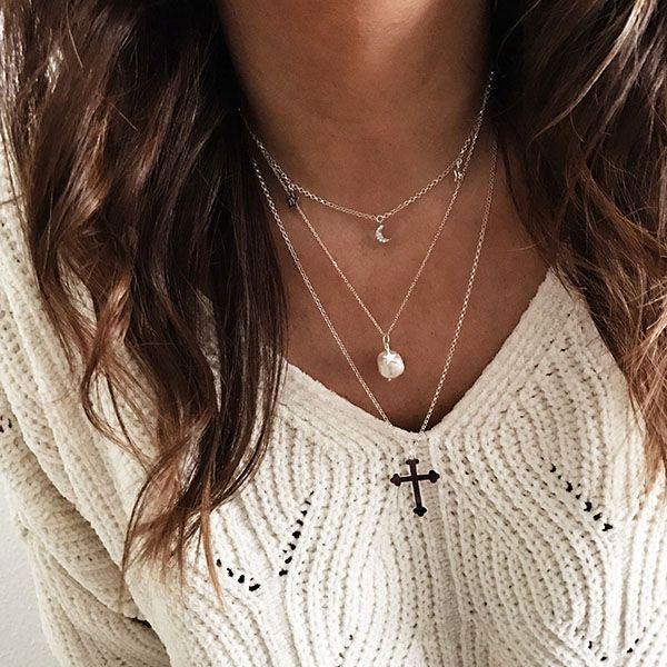 collares perla, cruz, luna y estrellas plata de ley 925