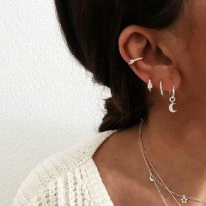 pendientes aro plata de ley luna y ear cuff cartilago