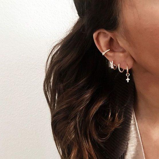 pendientes aro plata bano oro cruz ear cuff cartilago