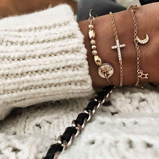 pulseras plata bano oro cruz, luna, estrellas