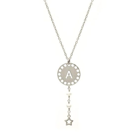 initials pearl silver necklace