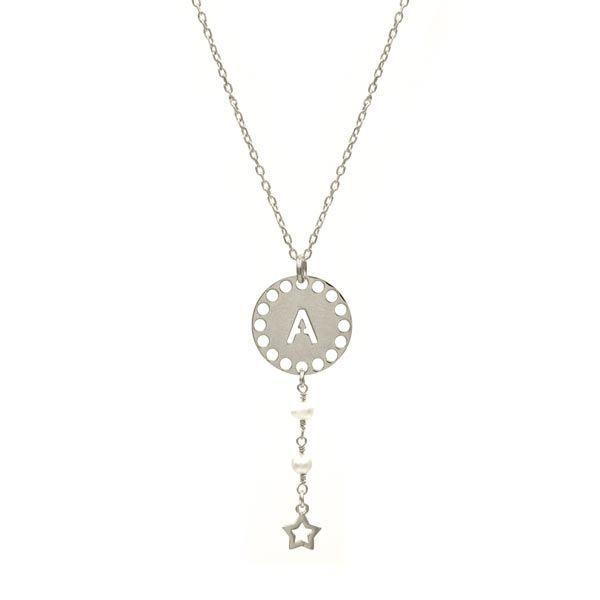 collar initials perla plata