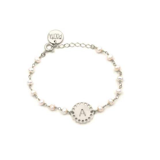 pulsera initials perla plata