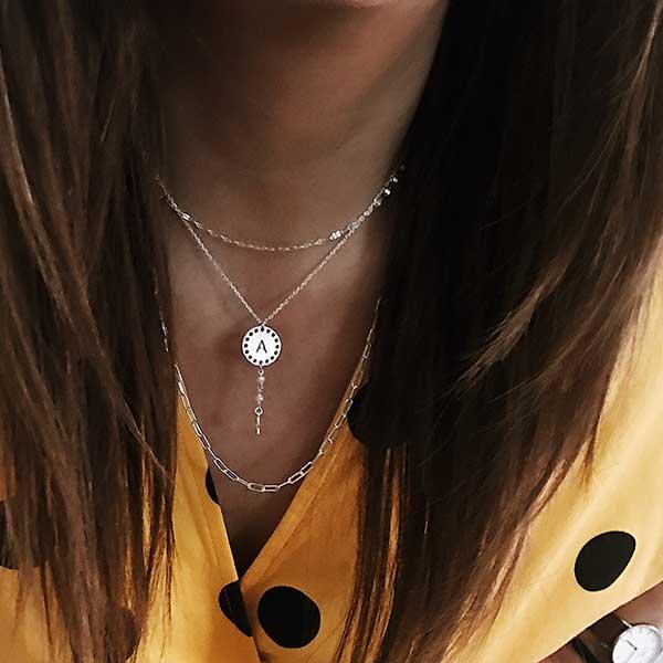 collar perla plata inicial