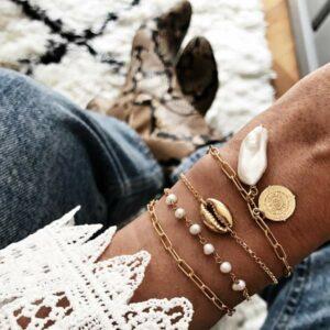 pulseras perla, concha