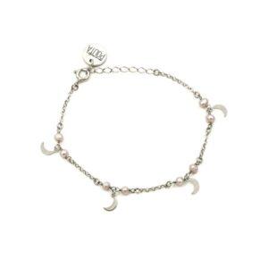 pulsera moon & pearls plata