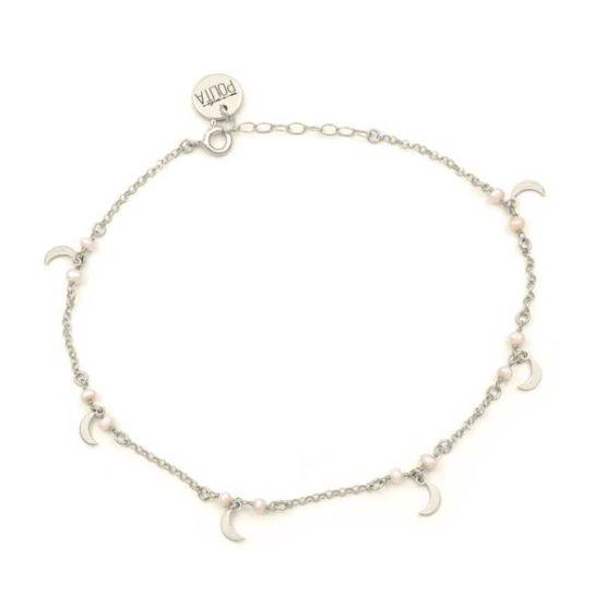 tobillera moon & pearls plata