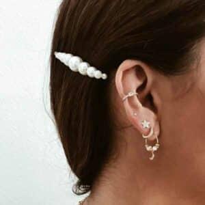pendientes lunas y perlas