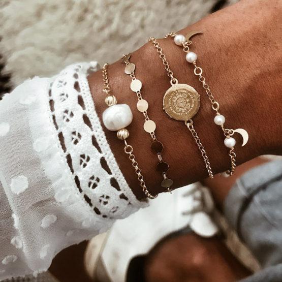 pulseras perlas, lunas y medallas neska polita plata de ley