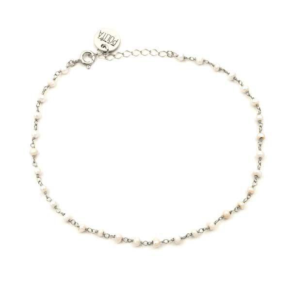 tobillera minerals perla plata