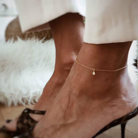 minimal 18k gold plated anklet bracelet by neska polita