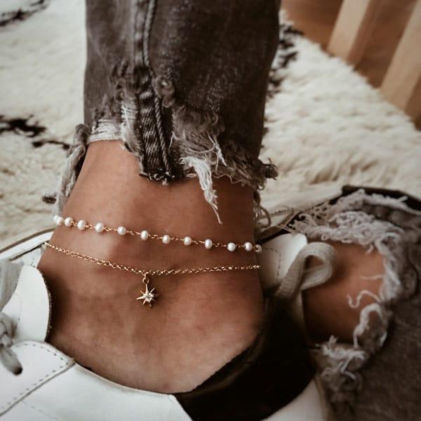 tobilleras plata de ley perlas