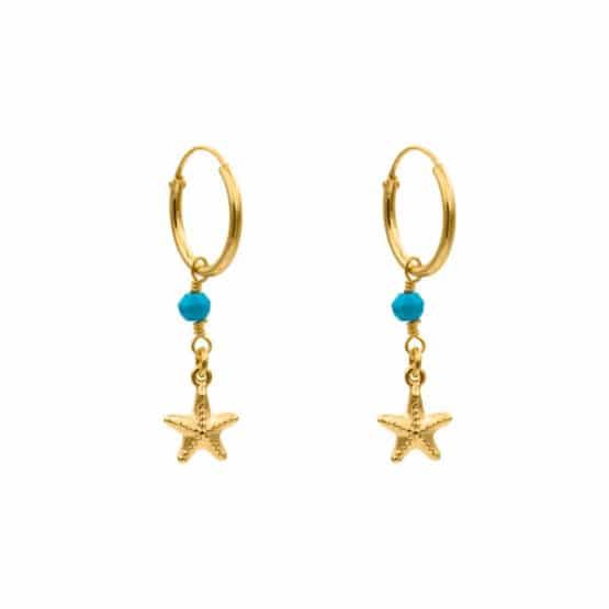 pendientes starfish turquesa oro