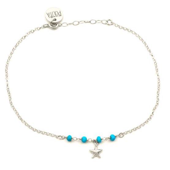 tobillera starfish plata