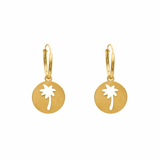 pendientes palmera oro