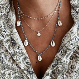 collares conchas turquesa plata