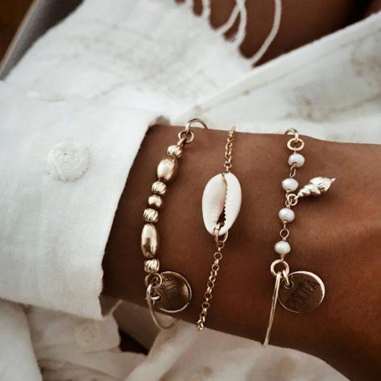 cowrie shell gold bracelet