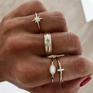 anillos baño oro circonitas
