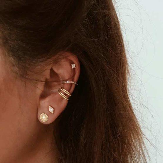 pendientes y ear cuff plata bano oro