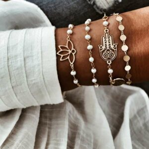 pulseras perlas plata bano oro
