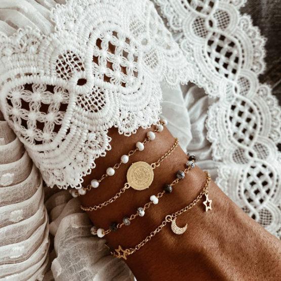 pulseras perlas y opalo plata neska polita